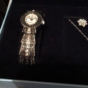 Watch necklace and earring set